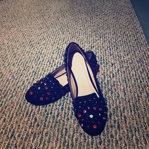 Black Jeweled Loafers with inch Square Heal.
